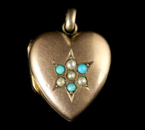 Antique Victorian Heart Locket Turquoise and Pearl Circa 1880 topfront