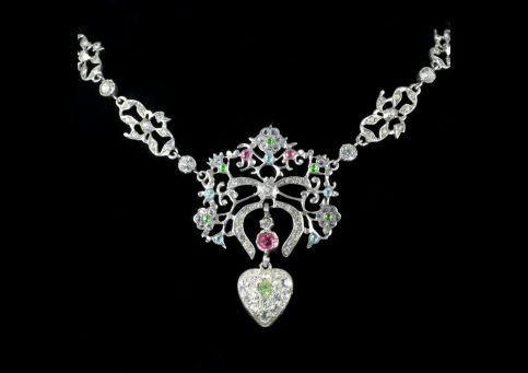 Antique Victorian Suffragette Necklace Heart Dropper Circa 1900 neck