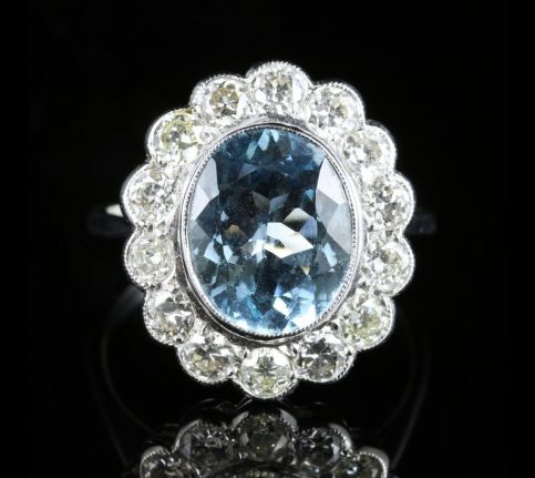 Aquamarine Diamond Ring 18ct White Gold 5ct Aquamarine Large Ring front view