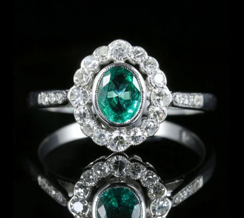EDWARDIAN EMERALD DIAMOND RING 18CT WHITE GOLD
