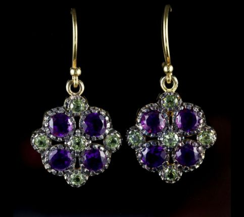 Peridot Amethyst Suffragette Cluster Earrings 18ct Gold