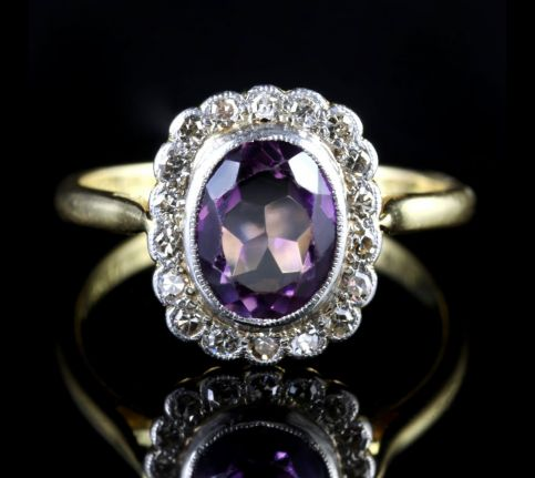 Antique Victorian Amethyst Diamond Cluster Ring Circa 1900 FRONT