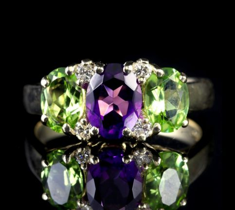 SUFFRAGETTE AMETHYST PERIODT DIAMOND RING GOLD FRONT1