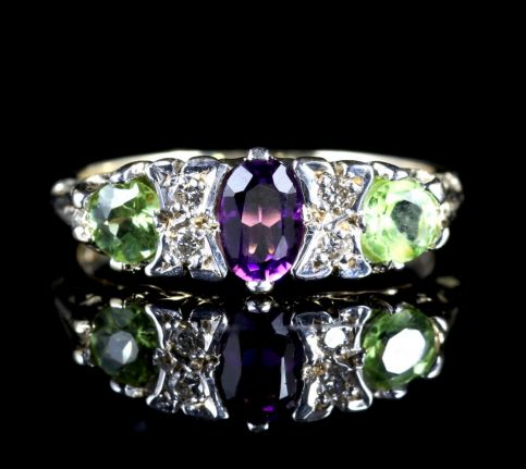 SUFFRAGETTE AMETHYST PERIODT DIAMOND RING GOLD1