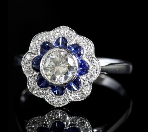 Sapphire and Cluster Ring 18ct White Gold Engagement Ring side2