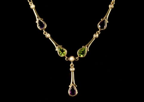 Suffragette Necklace Amethyst Peridot Pearl 9ct Gold ront2