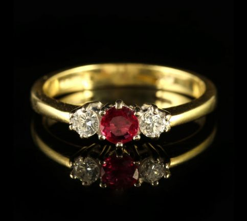 ruby and diamond ring dated london 1993 front