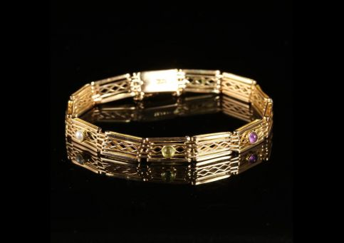 Antique Victorian Suffragette 9ct Gold Bracelet Circa 1900