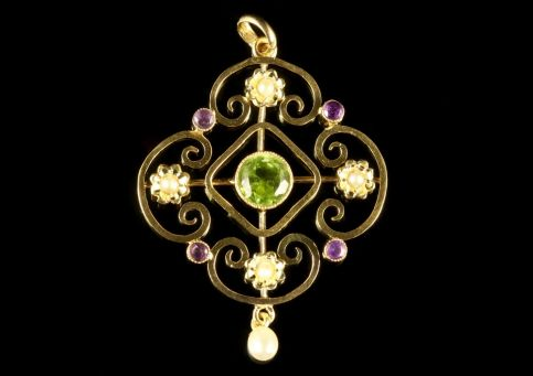 ANTIQUE EDWARDIAN SUFFRAGETTE 9CT GOLD FLORAL PENDANT CIRCA 1910