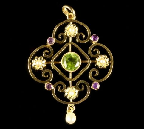 ANTIQUE VICTORIAN SUFFRAGETTE 9CT GOLD FLORAL PENDANT CIRCA 1900