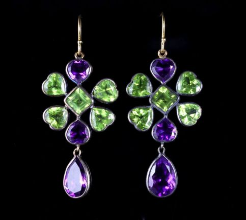 AMETHYST PERIDOT SUFFRAGETTE 18CT EARRINGS