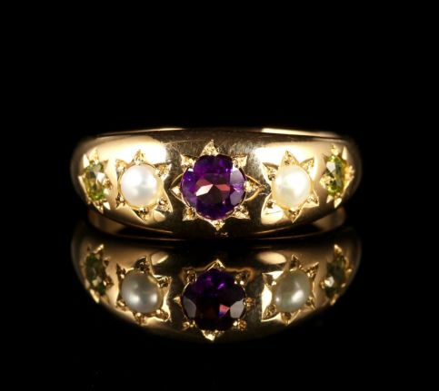 Antique Victorian Suffragette Ring Gypsy Set Circa 1900