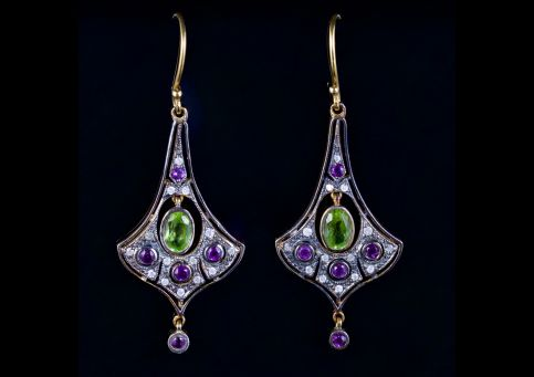 Suffragette Earrings Amethyst Peridot Diamond 18ct Silver
