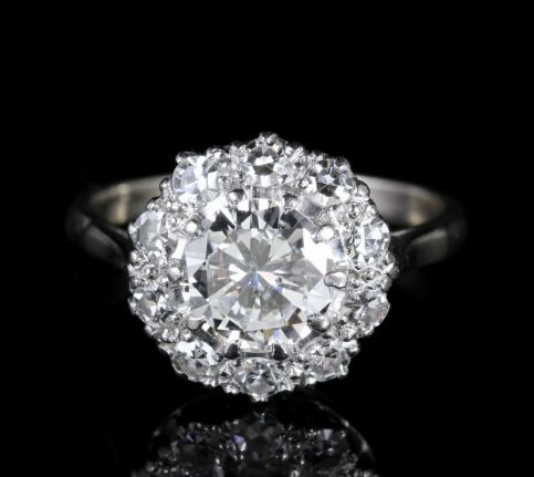 Antique Edwardian Diamond Cluster Ring 2.60ct Platinum Engagement Ring front