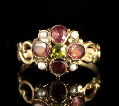 ANTIQUE GEORGIAN SUFFRAGETTE 18CT RING GARNET PERIDOT PEARL CIRCA 1800