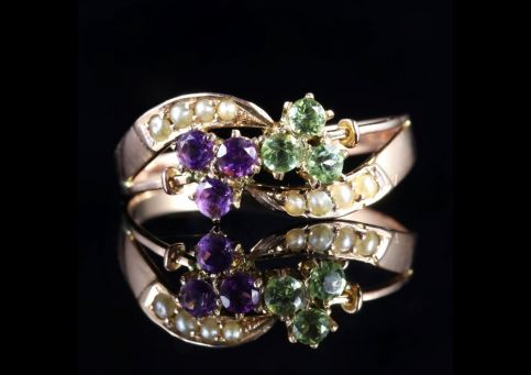 Antique Victorian Suffragette Fancy 9ct Gold Ring Amethyst Peridot Pearl