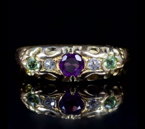 ANTIQUE VICTORIAN SUFFRAGETTE 18CT GOLD RING CIRCA 1900