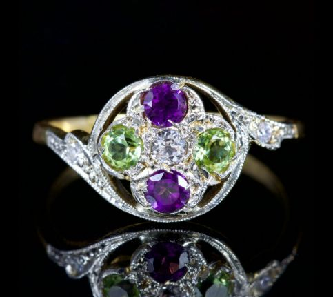 Antique Victorian Suffragette Ring 18ct Diamond Peridot Amethyst Circa 1900