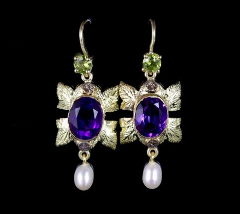 Antique Victorian Suffragette Earrings 18ct Gold Drop Earrings Circa 1900