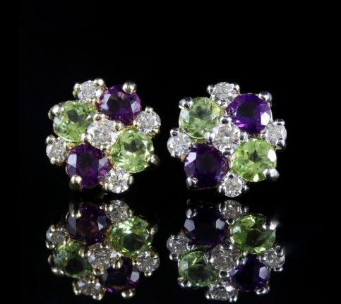 EDWARDIAN SUFFRAGETTE STYLE CLUSTER 9CT EARRINGS