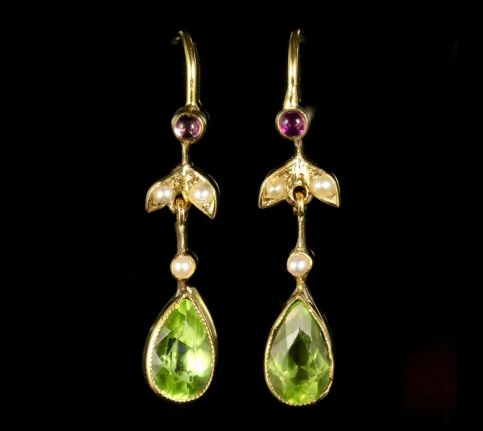 Victorian Suffragette Earrings 15ct Circa 1900