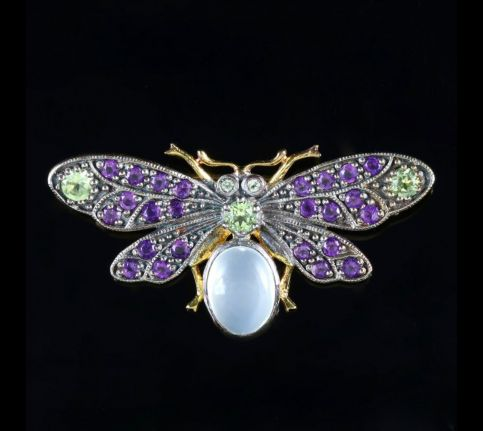 Suffragette Butterfly Brooch 18ct Gold Silver