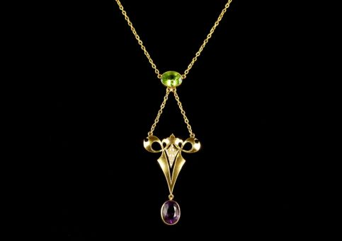 Antique Victorian Suffragette Necklace 15ct Gold 2.50ct Amethyst Circa 1900