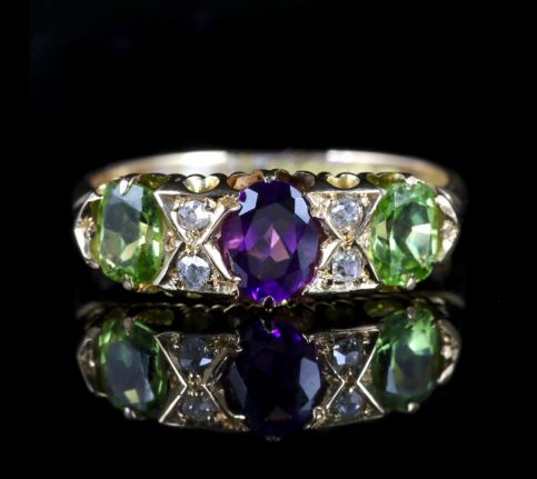 Antique Victorian Suffragette Ring 18ct Diamond Amethyst Peridot Circa 1900