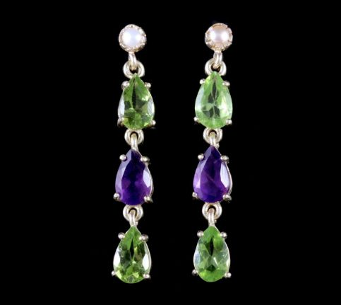 Suffragette Earrings 9ct Gold Pearl Peridot Amethyst