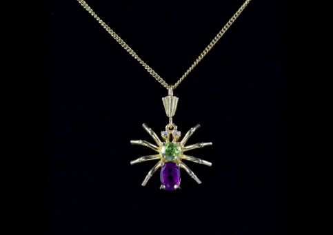 SUFFRAGETTE SPIDER PENDANT NECKLACE 9CT GOLD