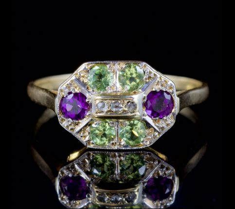 ANTIQUE VICTORIAN SUFFRAGETTE RING DIAMOND AMETHYST PERIDOT 18CT GOLD CIRCA 1900