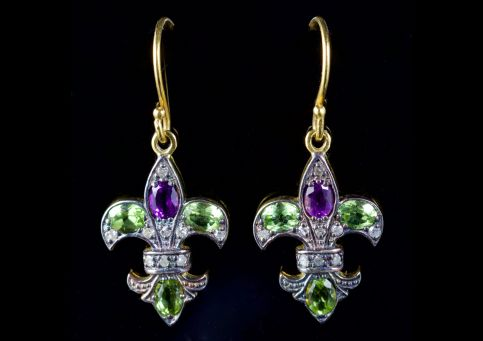 Suffragette Fleur De Lys Earrings 18ct Gold Silver