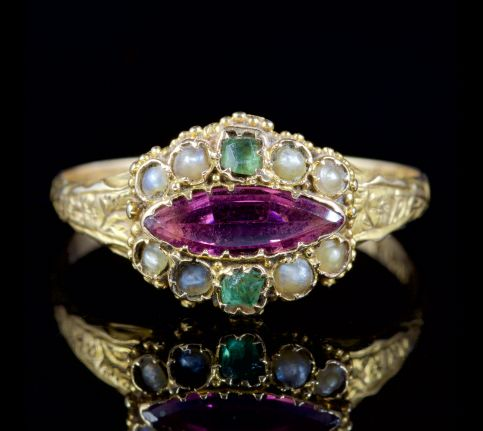 Antique Victorian Suffragette Ring 15ct Gold Circa 1900