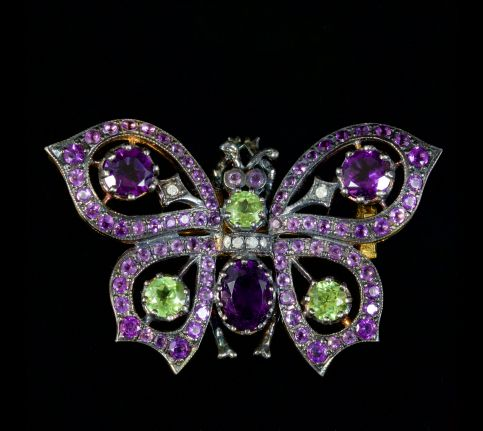 Butterfly Suffragette Brooch 9ct Gold Silver Brooch