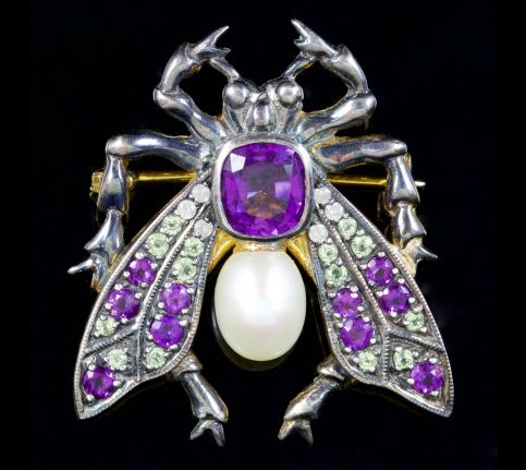 Suffragette Insect Brooch 2ct Amethyst 18ct Silver