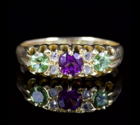 Antique Edwardian Suffragette Ring 18ct Dated Birmingham 1918