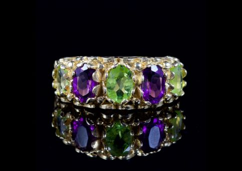 Suffragette Amethyst Peridot Ring 9ct Gold Ring