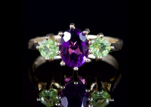Suffragette Trilogy Ring Amethyst Peridot 9ct Ring