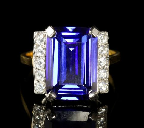 ANTIQUE CZ TANZANITE AND PASTE RING FRONT