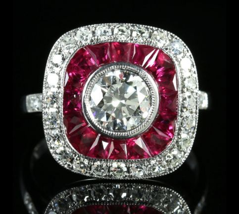 DIAMOND RUBY DECO RING 18CT FRENCH CUT RUBIES 2.50CT FRONT