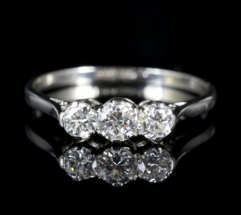 EDWARDIAN DIAMOND TRILOGY PLATINUM RING CIRCA 1910 0.76CT ENGAGEMENT RING front