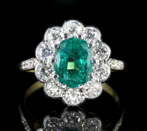 EMERALD DIAMOND ENGAGEMENT RING 3.20CT EMERALD 1.60CT DIAMOND FRONT