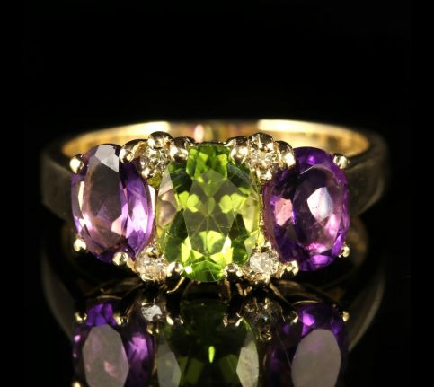 Suffragette Amethyst Peridot Diamond Gold Ring front