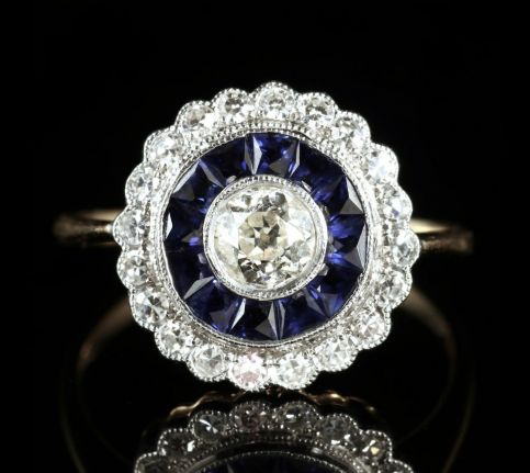 sapphire diamond engagement ring 18ct gold french cut sapphires front