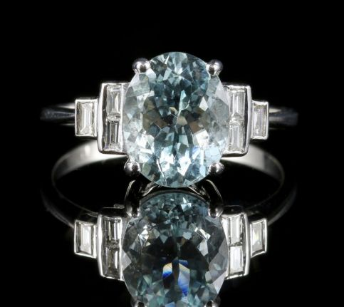 Aquamarine Diamond Ring 18ct Gold 3.5ct Aquamarine Baguette Cut Diamonds Front view
