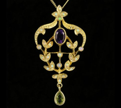 Suffragette Pendant and Chain Amethyst Opal Peridot front view