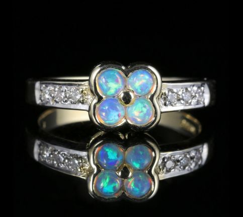 Opal Diamond Flower Ring 9ct Gold front view
