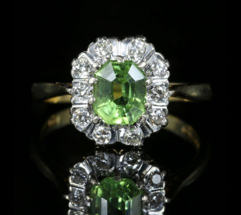 Peridot Diamond Cluster Engagement Ring Dated London 1975 front view