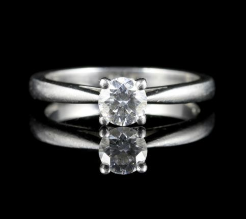 Platinum Solitaire Diamond Ring 0.65ct Old Cut Vs1 H Colour front