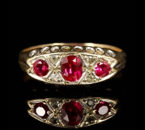 Antique Ruby Diamond Ring Gypsy Set Gold Ring 1960 front view